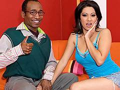 This nerd is pretty good at talking Vanessa Leon into coming back to his place after talking about making it big in Hollywood. She gets the hint right away, and wants to be a big star, so she quickly gets her clothes off and shows him her big boobs while he shows her his big black cock. He dives in between her legs and licks her snatch while she rubs her large pierced breasts. She wraps her lips around his dick and sucks on it until it's rock hard, and then lets him pound her deep inside her snatch. Her big tits bounce everywhere as her pierced pussy gets rammed until his black dick spews white cum all over her face.