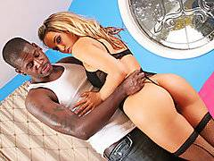Stunning European blonde Aleska poses for the camera in black lingerie and fishnet stockings. She strips to show off her tight body, and she bends over to finger her pink pussy from behind. A lucky black man joins her, and she undoes his jeans to suck his hard cock. She looks into the camera and licks his balls as she blows him, and she lays back to get fucked missionary. She mounts him to ride his rod cowgirl, and she gets on all fours to get pounded doggy style. He finally jerks his hot load all over her fine ass.