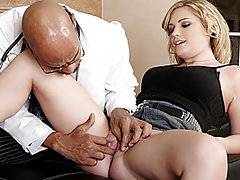 Sexy Hayden Night pays a house call to her doctor because her pussy tightens up and she can't get a dick inside her without it hurting. He examines her puffy twat, sticking a finger in then asks her to strip out of her clothes for a more thorough examine. He gives her a big cock to play with to help her loosen up, she grips it at the base and wraps her lips around the head, sucking it down her throat. With her legs pushed back she stretches and holds her pussy lips open as he eases his big boner into her tight hole.