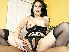 Gorgeous big titty brunette Sasha Hollander knows that black stud Justin Long has an extremely big cock.  She better have her pussy well loosened and lubricated if she wants to accommodate that massive member inside her tight fuck hole!  She is dressed up in her sexiest lingerie to get her man hot, and she spends a considerable amount of time rubbing her clit and masturbating with large dildo until she is sopping wet.  Only then does Justin join her on the couch, enjoying Sasha's blow job and then pounding the shit out of her firm white ass.  She groans and squeals as she tries to fit that massive black dick inside her tiny slit.
