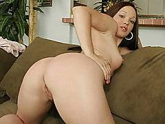 White girl Krystal undresses for the camera, showing off her big booty and nice tits.  She starts playing with herself until a black guy with a huge cock come into the room and starts eating out her young pussy.  She then turns around and starts sucking his cock in preparation for a fucking.  He takes her from behind on the side and fucks her deep.  She then gets on top and bounces her ass on his large dick.  Now she's facing the camera and you get a good view of her tight snatch.  She's moaning with pleasure.  He takes her on all fours and then fucks her from the side.  He has her get off so he can cum on her face.