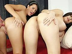Hot young brunette Deena and her mother Sheila arrive at a porn interview trying to get her lgirl a job. Sheila is trying to convince her mom to do a scene with her where they can share one guy. Both girls have a big bubbly booty and can make is jiggle when they shake their hips. Deena is quick to flash her little perky tits compared to her moms giant round jugs. Lee Stone is excited to have two tasty treats and gives them equal attention with his strong tongue. After tag teaming his long hard cock, mom licks his balls while he rams his cock into her daughters tight hole before giving mom a the ride of her life.