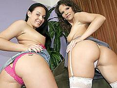 When mom Syren De Mer found out from her cousin that her daughter Alexa Jordan was an online pornstar, she was a bit shocked.  But she wasn't fully surprised since the apple doesn't fall far from the tree and Syren herself is a bit of a horny slut.  They decided to work together for this scene and lathered themselves up with lots of oil to show off their big shiny asses before opening them up for destruction.  Watch the mom and daughter team take turns getting their pussies pounded before dropping to their knees to catch - and, of course, share - and massive warm cumshot from a young stud.