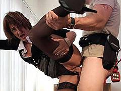 The boss called Seth in on a Saturday to fix shit for her and being the company bitch that he is, he complied -- but it's all worth it in the end because she pays him back for the effort by bending over and taking his cock from behind.