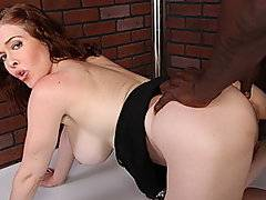 39 year old Mae Victoria is a pale, freckled Canadian cougar stripper looking to start working at a new club owned by Byron Long.  So she, her kick-ass bod, and her hairy bush audition for the camera only to find out that she's a little too old for his clientele.  But, he offers her a position sucking his big black cock and she suddenly discovers her true talent.  She needs some coaching about taking her time eating dick, but she's obviously an experienced natural.  Speaking of natural, her hairy pussy never had it so good.  Byron's long dong fucks that cunt to the point of making it squirt, then pulls out to blow a wad all over her shiny happy face.