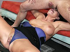 A pizza delivery man gets a treat when the MILF he hands the pizza too grips his ass instead. He is bewildered that this sexy brunette wants to bury her tongue in his asshole and deep throat his dick. She grips and tugs on his shaft as she tosses his salad, cleaning his butt to a shine. He takes advantage of the slut, fucking her face, making her gag. When she takes his shaft into her juicy snatch she moans and groans as he plunges deeper and deeper into her tight hole before filling her mouth with his warm white spunk.