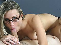 Harmony Rose may have four eyes, but when she sits down with this guy for a study session, things heat up pretty quickly. He kisses and fondles her tits and helps her strip out of her daisy dukes and top and just starts kissing and squeezing her ass. When Harmony starts giving his meaty member a rim job, she tickles her twat while her head hits his cock at all angles. Once they get into a  69, he tongue tickles her clit while she licks his nutsack. This guy spreads her pussy lips wide and then slips his cock in for a bang. Harmony loves each penetrating thrust and they switch positions often because she likes to get her cock in many angles.