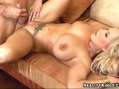 Big tited sluty blondie lies on her back and spreads legs for horny dude.