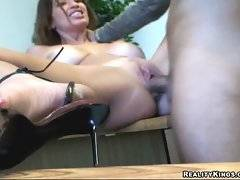 This nasty wifie screams from pleasure when tough guy drills her on table.