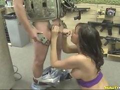 Skilful brunette sweetie comes to gun store and gets hunted.