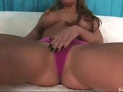 Nasty babe plays her pussy to make black guys enjoy the view.