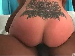 This big tited slut is fond of being drilled by thick black bones.