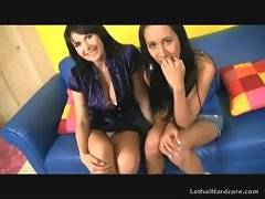 Pretty naughty girl undresses for dude on her mommy`s eyes.