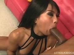 Hot asian gives blowjob to black dude and gets her pussy eated.