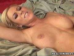 Dude licks and fucks pretty busty slut until feeds her with cum.