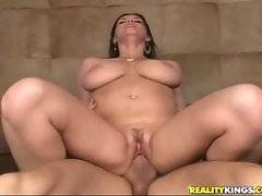 Sweet big tited slutie screams when gets pussy furiously drilled.