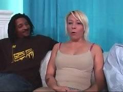 This naughty blondie doesn`t mind to taste thick black dicks.