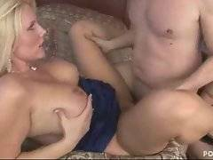 Three breasted blonde moms and two dudes enjoy group fucking.