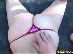 Big tited booty sweetie sucks nice hard dick and gives breastjob.