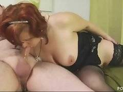 Cockloving mature chick in black stockings spreads her legs for hard dick.