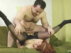 Horny man attacks mature slut until sprays spunk on her older hole.