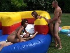 Rio and Nikkie sliding up and down the man meat.