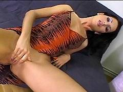 Gorgeous brunette Lilith looks so sexy in her sheer tiger print dress at the beginning of this scene. Soon, however, she is completely naked, stripped by three horny studs who are intent on punishing all of her holes. She\'s got three holes, so she may as well use all of them! The guys make her their willing fuck slave, penetrating her pussy and her ass before the hardcore double fucking begins. Soon she has a cock in her mouth, her vagina and her anus simultaneously - the most efficient use of her time as a whore! After she has been savagely reamed, the men gather around and spunk off one after another all over her face, leaving her drenched.