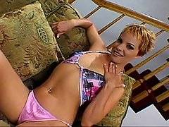 French Canadian babe, Emily Vanili is being interviewed on the couch, discussing her likes and dislikes before she is asked to masturbate for the camera.  She is eager to oblige, slowly stripping off her top and thong showing off her perky little boobs and tight ass. She bends over for the camera and proceeds to play with her pussy and her ass.  Marc Duato comes along and uses his tongue to moisten her ass and bring her closer to orgasm. She gives him a blow job before he fucks her in the pussy and in the ass.