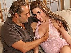 What a dilemma 25 year old Eric finds himself in. His father has just remarried knock out Victoria Valentino and all he can thing about is banging her himself. She is young, with a tiny waist a perfect ass and huge natural boobs. She is always around and Eric has even found himself unable to talk to her without jacking off. After a month of avoiding her he finds himself alone with her. She is unhappy about the fact that his dad is away on business a lot and decides to get to know her knew stepson a little better. She seduces him in sexy lingerie allowing him to fondle her huge tits before fucking him like he's never been screwed before.