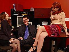 Caroline and Catherine are about to set it off with Todd. As one of them starts stripping him, the other sets to taking down his pants. Each girl has her turn sucking his dick. They both polish his dome and pump his shaft. both girls have their turn at licking his shaft and cupping his nuts. These girls love how much he is enjoying their efforts. He moans while the girls tongue tickle his dome and nearly swallows his cock in response to his eagerly waiting member. He can\'t believe his luck either. Each girl offers her own skill to this blowjob. They keep working his wang until can\'t take no more and blows his load.