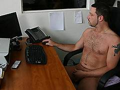 A guy is naked at work wacking off to internet porn, trying not to get caught when his boss catches him in the act. She scolds him and tells him he\'s going to do everything she says in order to not get fired. So first she has him get down on the floor and crawl around like her dog. She keeps her clothes on and rides him like a right, proper fookin\' whore. He gives her a ride around the office a bit and then another female employee comes in and asks them what they\'re doing. So both girls ride on his back and then they have him sit on the office couch and whack off while they watch him. They keep their clothes on while he strokes it in the nude until he cums.