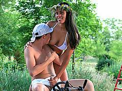 This is probably going to be one of the more bizarre porn movies that you watch today!  Euro stud Janos is playing in the playground, wearing nothing but a baseball cap and a pair of white diapers!  It\'s curious to see a fully grown man dressed like a young baby, but the man seems quite happy, playing on the seesaw.  Also in the scene is attractive brunette babe Veronika Jane, a statuesque babe with great tits.  She\'s wearing a sexy white bikini - and an enormous strap-on!  She bends the adult baby over, making him squeal as she bangs him up the butt with the thick plastic strap-on.  This is some this insane adult diaper sex!