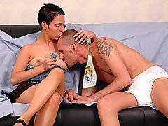 Kinga Farsang is certainly willing to try anything once - she\'s whipping out the strap on and going to town on this adult diaper wearing Janos Nemeth. She loves pulling back and pounding deep into his ass, getting herself so worked up that she\'s almost ready to cum right when she starts. She gets her diaper wearing boyfriend into so many positions that he is almost overwhelmed with how intense it\'s getting. He certainly ends up completely overwhelmed once she drives him to empty his jizz into his diaper.