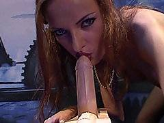 Randy is a horny redhead who approached the fucking machine like a sleek cat stalking its prey. She put her mouth and began to suck the rubber dildo of the machine to lube it up with her mouth. Then as Randy climbed up on top of it, she didn\'t immediately penetrate herself on the dildo, but rather slid it between her tits for a titty fucking. After awhile of stalking the machine and getting herself aroused, Randy finally impaled herself on the dildo and turned the machine on. The vibration and stimulation of the fucking machine made her see stars. She rode on top of it until she had a mindblowing orgasm.