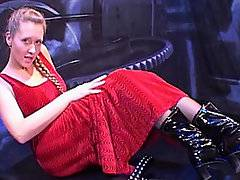 Sexy Euro-blonde Sasha Romana is dressed seductively in a red night gown in an industrial setting. She pulls down her dress straps to expose her big natural tits, and then pulls off her entire gown to reveal her fine g-stringed ass. She takes off her panties to show off her bald pussy and activates the fucking machine, a black dildo thrusting back and forth on a piston. She wraps her boobs around the dildo as it thrusts between them. She lays down in missionary as the machine fucks her bald hole. She cries out in ecstasy every time the dildo enters her. She turns over so she can get fucked doggy style. This kinky slut loves this machine.