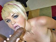 Cute coed, Claudia Downs is really hungry for a big black dick and Justin Long will definitely be enough thick cock for her to ride.  She\'s spunky and natural, not to mention horny.  She starts working on her shaved pink pussy, stroking it and playing with it until finally her man comes in with his dick ready to get sucked.  She eagerly slobbers all over his prick so it\'s ready to make this white coed scream.  Finally, she gets fucked hard doggy style, which makes her leave white jizz all over her man\'s hard black cock.