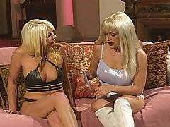 Here are two hot blondes ready to have some kinky lesbian sex.  Layla Jade and Jennie Loveitt start to open up each others\' pussies, and one chick uses wooden pins to hold her girlfriend\'s pink lips back.  This helps let the one blonde chick dive right down on the other slut\'s cunt, letting her moisten it up even more with her saliva.  They start to really get into it, so they break out some dildos and start shoving them in each of their tight holes.  They fuck each others twats and assholes hard, leaving them both soaking wet.