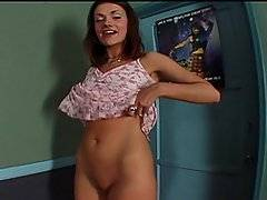 British brunette Amber Roxx introduces herself and poses in her skimpy summer dress before hiking it up to show off her perfect round ass. She removes the dress altogether to reveal her small tits and shaved pussy before being joined by 2 horny dudes. She drops to her knees between them to suck each of their hard cocks in turn, deep throating and gagging on their dicks. They fuck her mouth while she drools everywhere, coating their rods in her saliva. She finally takes each man\'s load into her open mouth before she swallows their cum.