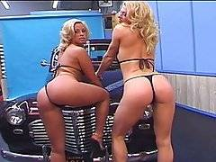 We\'ve got ourselves a couple of stunning blonde car show fuck-sluts.  They\'re most interested in getting filled up with the big dick of photographer Joey Ray.  Jeanie Rivers has got sweet perky titties and Malitia exposes them for our lucky guy.  Pretty soon they\'re getting down on each others\' wet cunts and sucking on Joey\'s thick prick.  These tall hotties love to get their fuck-on, Malitia fingers Joey\'s butt-hole while he\'s stuffing Jeanie\'s tight cunt, and then he rams his huge rod into her tiny ass and this slut loves it.  These asses are reamed out by the time Joey blasts these skanks with a huge dose of man-butter right in the face.