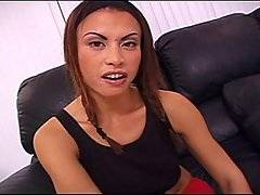 This tight hottie is going to have to spread those legs wide open, because Jayna Oso is going to be stretched to her limits by this huge black cock! She takes off her panties and rubs her shaved slit to get it ready to be filled up, and then her eyes damn near bug out of her head when she realizes just how huge it is! She opens up and feels every inch sliding into her tight twat, holding on to her legs as he plows her pussy from on top. She then gets to suck her juices off of his pecker, before climbing on top of him and impaling herself on his fuck stick. After she gets drilled, she gets a hot load of cum as her reward.