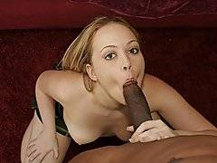 A small white chick named Amber starts stroking her body up and down, knowing that she\'s gonna get some big black cock inside of her.  This is a POV clip with the black cock being the cameraman as well.  She starts taking off her clothes and plays with her pussy.  He takes out his cock and she starts sucking it hard.  After a little while, she jumps on cowgirl and the camera is angled at the back of her pussy and ass.  Nice shot.  She then pulls it out to wet it a little bit and he shoves in back in when she is on her back.  Her pussy is tight.  He turns her around quickly and starts banging this young thing doggy style.  Before you know it, he cums.