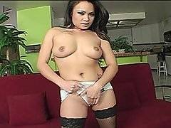 Mya strips and fondles her tits and then bends over to finger fuck herself from behind. When she lays back to masturbate, Nick shoves his cock into her mouth. She gets on her knees to work his wang from a better angle and when he licks her pussy and finger fucks her, this girl is ready for a bang. She starts riding him, this guy loves squeezing her ass cheeks as she moves. Her tits jiggle as her booty bounces. He bends her over for a doggystyle fuck and then lifts her up for some more. She loves how deep his dick goes into her and no matter what positions she\'s in, this dick diving diva is having a blast. when he busts his nut.
