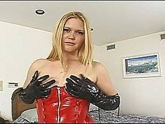 Sensational blond Selena Silver is turned into a degenerate anal whore for the day by veteran ass fucker Dave Hardman in this brutal anal clip.  Selena is dressed in black PVC gloves and bright red boots, looking bizarrely fetishistic.  She anally masturbates with a dildo in preparation for Dave\'s impressive schlong before giving him a long and sloppy suck job.  Dave enjoys plugging her pussy for a little while, but it is really her ass hole that is the star of the show, and she lowers herself down on the dick and begins to ride him reverse cowgirl style.  Later on in this scene, Selena takes an extremely hard and deep doggy style pounding.