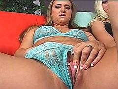 Jessica and Trista are both sitting on the couch masturbating themselves as the camera interviews them. The cameraman gets a cheap feel of their breasts and wet pussies. After they finish playing around with the girls\' holes, each of them then take turns on his hard rod. Jessica swallows him first and then Trista jumps in for a swallow. Then one by one the ladies are fucked. Trista is the first to receive penetration as Jessica watches. After awhile, Jessica gets penetration while Trista is fondling her tiny titties. Both of the girls are fucked and Jessica is even fucked in the ass until he cums on their face.