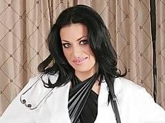Next time you go to the doctor, perhaps you will get a gorgeous busty nurse like Angelica Raven!  Falco is a surprised that his nurse is so gorgeous, but she is professional as she sits down to ask him some questions about his medical history.  Much to Falco\'s stunned shock, she tears off her nurse\'s uniform all of a sudden, revealing a tight and revealing black latex dress underneath.  Falco\'s all over her, pulling her massive natural jugs out of her dress and squeezing them.  Soon Angelica is bouncing on his dick with great enthusiasm, her moist, shaved pussy lips gripping every inch of his member as it plugs her fuck hole.