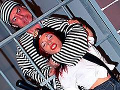 Tiny midget jailer Bridget Powers needs some satisfaction!  When tattooed jailbird Jack Hammer starts screaming from behind bars, the cruel little midget jumps into his cell and starts to playfully beat him with her baton.  Jack is immediately submissive to her pint-sized demands, obediently licking Bridget\'s midget pussy.  However, that\'s not enough for sexy Bridget, who wants pussy and then butt sex!  Jack does whatever she asks, pounding her in her shaved slit and then bending her over for some hardcore dwarf anal.  He drops a huge load on to pretty Bridget\'s open mouth and she gulps down the entire load - what a filthy little tart!
