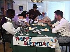 This is the crazies birthday bash ever. We\'re way past Charlie Sheen antics here. Obese man sitting in the captain\'s chair complete with bib, cake smeared on his chest hair? Check. Midget stripper. Check. Clown sociopath who starts drilling said midget stripper? Done and done! The beautiful Bridget Powers gets chased first around the living room as things from bad to completely fucking bugshit. She gets a huge clown cock in her puss and cums much to the delight of these loony bins!