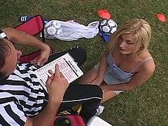 Who would have thought that a soccer field would be an awesome place to pick up chicks. It turns out that this milf is cruising for cock, and she just so happens to have her sights set on the ref. Darryl Hanah gets on over there and is down on her knees in seconds. Scott Hancock doesn\'t know what\'s going on at first, but he ends up catching on and pulls her into the bedroom. She is one hell of a good lay, but then again most milfs are. You would expect it given all the years of experience these lovely ladies just so happened to have.
