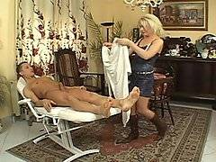 This excellent anal scene begins with a satanic ritual, as perfect blond milf Alexa tries to elicit a response from stud Richard\'s flaccid cock. Her magic works, and the cock rises to a massive erection of its own accord.  Whipping away the sheet that covers the shaft, she slips the cock right inside her moist pussy, and the camera zooms in on her fleshy vaginal lips as they suck up and down on the immense prick. Soon she transitions to anal, grinding her sphincter down on the shaft and also taking a severe doggy style anal pounding. Her man explodes in her mouth at the end and she swallows every drop of his sweet man juice.