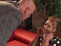 Blond sex kitten, Kelly Leigh crawls over to her boss, Rod Fantana, and begs for forgiveness. He asks her to repay him by kissing his shoes then giving him a blow job. She fondles herself getting her pussy nice and wet while swallowing his dick. He gives her a quick taste then quickly puts his cock in her pussy. This flexible MILF lifts her legs over her head and he gives her some deep penetration while she moans and groans in delight. In many different positions Rod Fontana fucks her hard and deep.